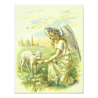 Páscoa da religião do vintage, anjo do Victorian Convite Personalizado