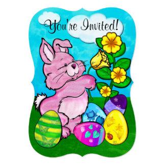 Páscoa do coelho do bebê convite 12.7 x 17.78cm
