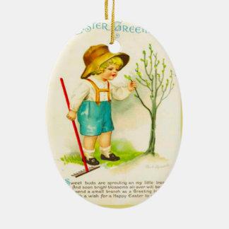 Páscoa do vintage, botões novos no jardim ornamento de cerâmica oval