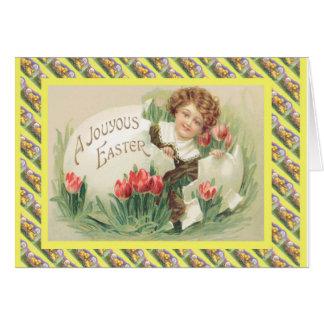 Páscoa do vintage, dentro do ovo cartão comemorativo