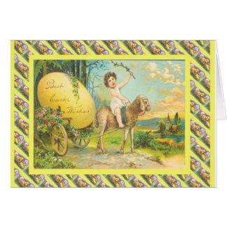 Páscoa do vintage, transporte do ovo cartão comemorativo