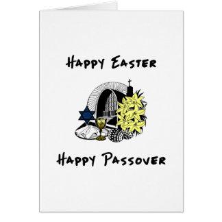 Páscoa e Passover inter-religiosos felizes Cartão Comemorativo