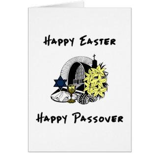 Páscoa e Passover inter-religiosos felizes Cartão De Nota