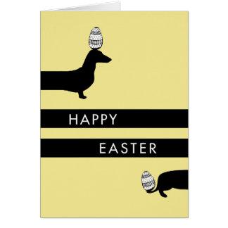 Páscoa engraçada do amarelo do Dachshund Cartão