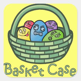 Páscoa engraçada do Basketcase Adesivo Quadrado