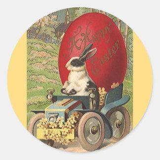 Páscoa engraçada do vintage, automóvel do ovo do adesivo