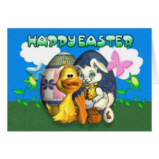 Páscoa feliz e abençoada cartão