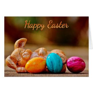 """Páscoa - """"felz pascoa"""" - coelho sonolento/ovos cartão comemorativo"""