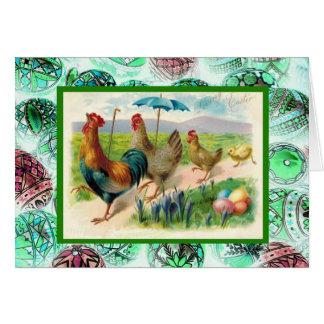 Páscoa, galinhas e ovos do vintage cartões