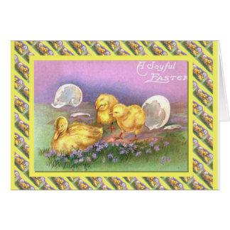 Páscoa, pintinhos e ovos do vintage cartão comemorativo