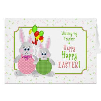 Páscoa - professor - coelhos & balões cartão comemorativo