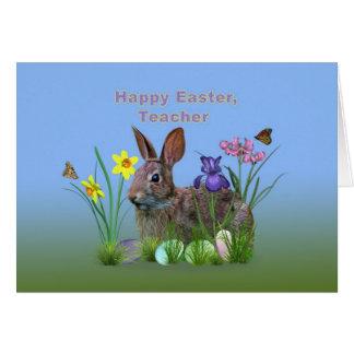 Páscoa, professor, flores, ovos, e rabino cartao
