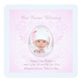 Páscoa que abençoa o anúncio cor-de-rosa do convite quadrado 13.35 x 13.35cm