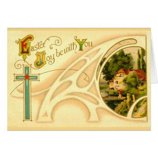 Páscoa religiosa com cruz & vinheta cartões
