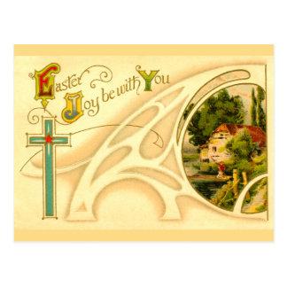 Páscoa religiosa com cruz & vinheta cartão postal