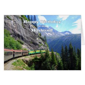 Passagem & aniversário brancos do trem do marido cartão comemorativo