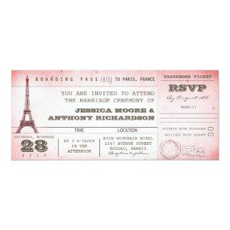 passagem de embarque cor-de-rosa do casamento do convite 10.16 x 23.49cm