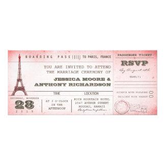 passagem de embarque cor-de-rosa do casamento do v convite personalizado