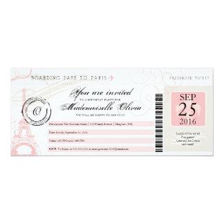 Passagem de embarque da festa de aniversário de convite 10.16 x 23.49cm