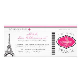 Passagem de embarque do aniversário a Paris Convite Personalizados