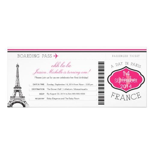 Passagem de embarque do aniversário a Paris Convite