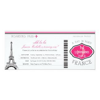 Passagem de embarque do aniversário a Paris Convite 10.16 X 23.49cm