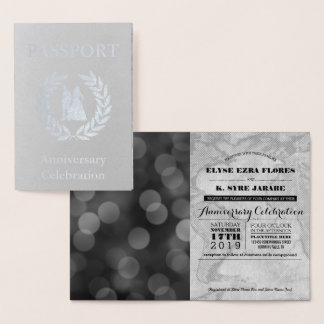 Passaporte de prata da festa de aniversário cartão metalizado