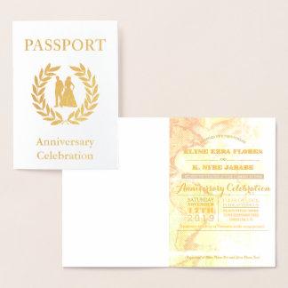 Passaporte do ouro da festa de aniversário cartão metalizado