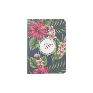 Passaporte floral H do monograma do hibiscus do Capa Para Passaporte
