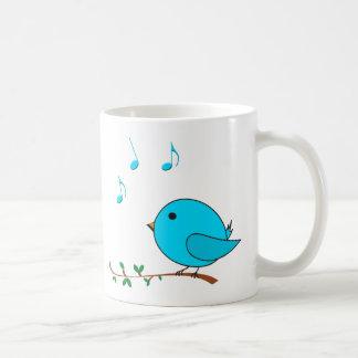 passarinho azul do canto caneca de café