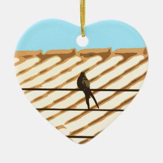 Passarinho Ornamento De Cerâmica Coração