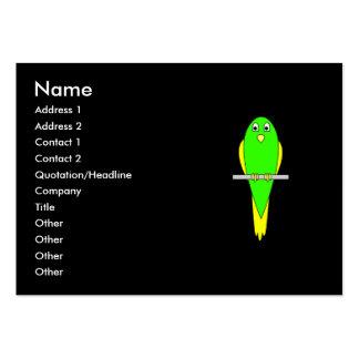 Pássaro amarelo e verde. Parakeet. Preto Cartões De Visitas