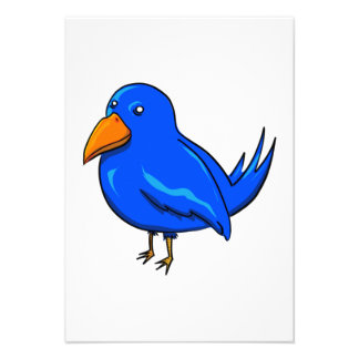 Pássaro azul dos desenhos animados convites personalizados