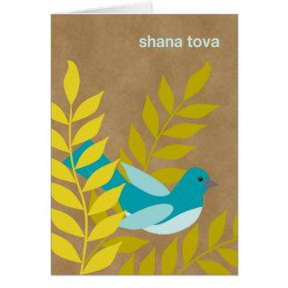 Pássaro azul moderno de Rosh Hashanah no olhar do  Cartao