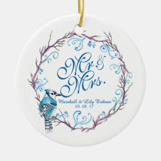 Pássaro azul personalizado & ornamento floral do