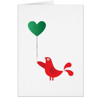 Pássaro & balão populares do coração cartão comemorativo