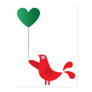Pássaro & balão populares do coração cartão postal