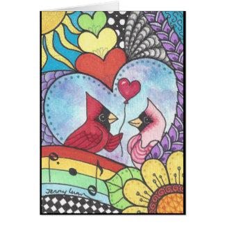 Pássaro cardinal na arte do amor cartão comemorativo