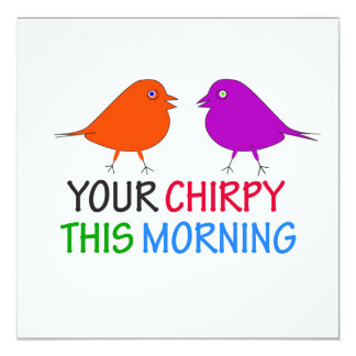 Pássaro Chirpy Convite Quadrado 13.35 X 13.35cm