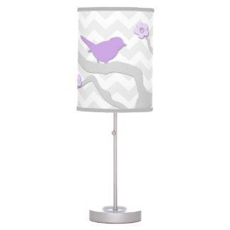 Pássaro cinzento da lavanda roxa na lâmpada do