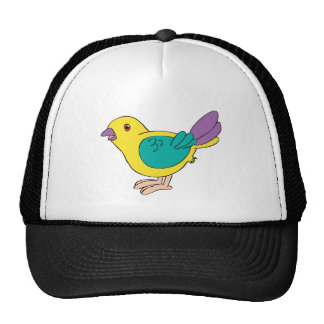 Pássaro colorido dos desenhos animados boné