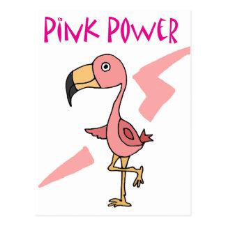 Pássaro cor-de-rosa inspirado do flamingo do poder cartão postal