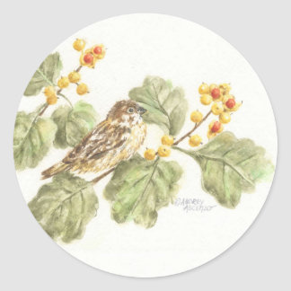 Pássaro da aguarela das etiquetas no ramo do