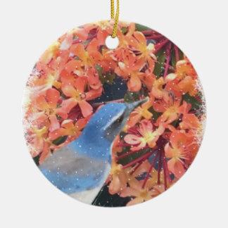 Pássaro da neve ornamento de cerâmica redondo