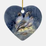 Pássaro das codorniz de Califórnia da aguarela no  Enfeites Para Arvores De Natal