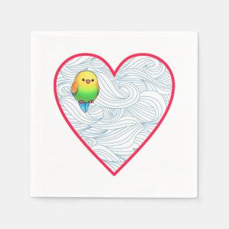 Pássaro de bebê bonito no querido guardanapo de papel