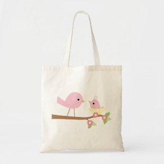 Pássaro de bebê cor-de-rosa sacola tote budget