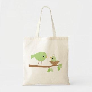 Pássaro de bebê verde sacola tote budget