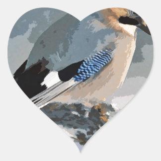 Pássaro de Jay no inverno Adesivo Coração