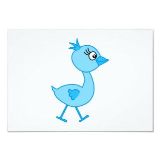 Pássaro de passeio bonito, azul convite 8.89 x 12.7cm